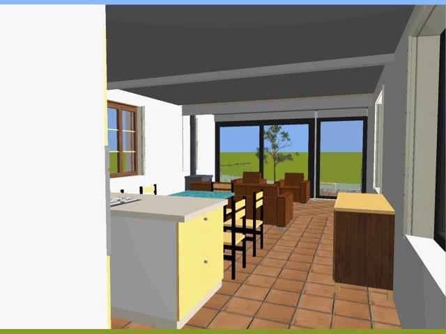 Vue 3D intérieur salon Bucamps